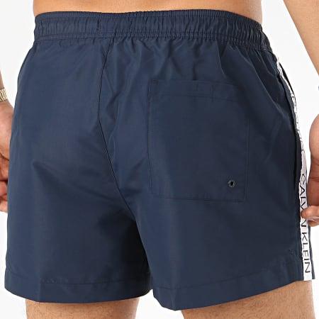 Calvin Klein - Short De Bain A Bandes Drawstring 0457 Bleu Marine