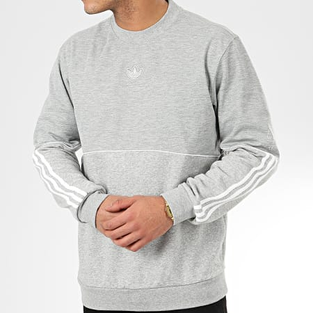 adidas - Sweat Crewneck A Bandes Outline FM3921 Gris Chiné