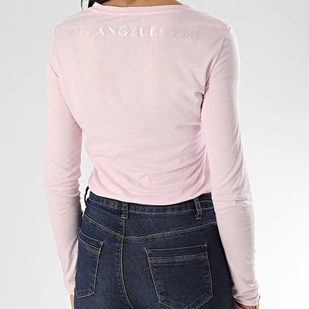 Guess - Tee Shirt Slim Col V Femme Manches Longues W0GI24-K46D0 Rose