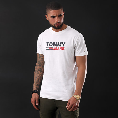 Tommy Hilfiger Jeans - Tee Shirt Corp Logo 7843 Blanc