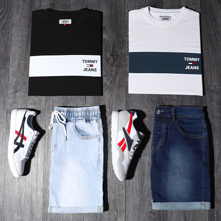 Tommy Hilfiger Jeans - Tee Shirt Chest Stripe Logo 7858 Noir