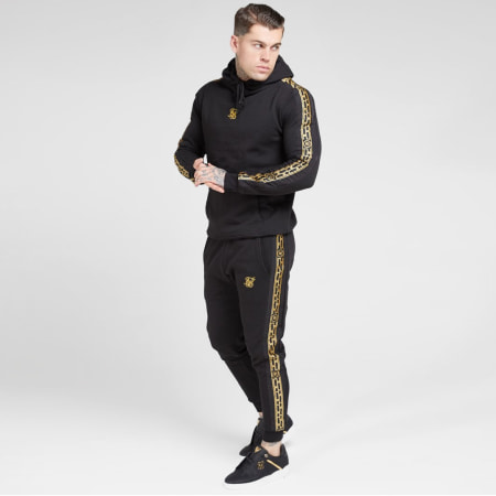 SikSilk - Sweat Capuche A Bandes Nylon Panel 15431 Noir Doré
