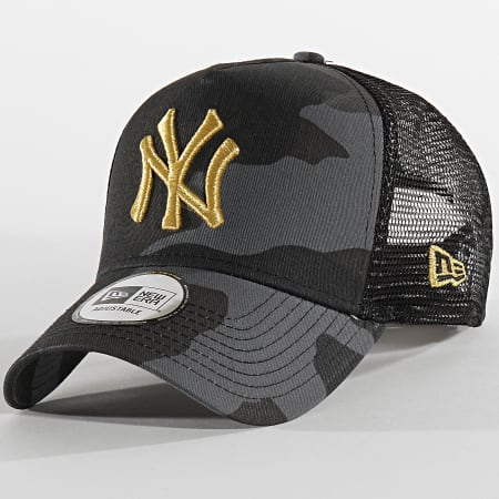 New Era - Casquette Trucker Camouflage New York Yankees 12392338 Gris Anthracite Doré