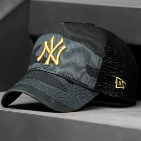 New Era - Casquette Trucker Camouflage New York Yankees 12392338 Gris Anthracite Doré