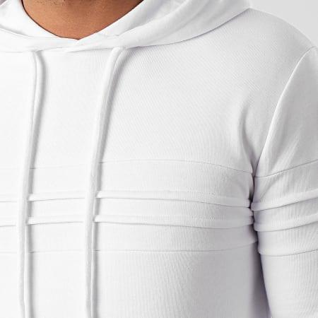 LBO - Sweat Capuche avec Empiecement 1022 Blanc