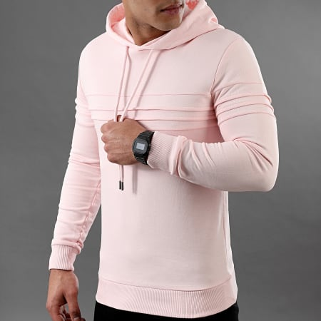 LBO - Sweat Capuche avec Empiecement 1023 Rose Pale