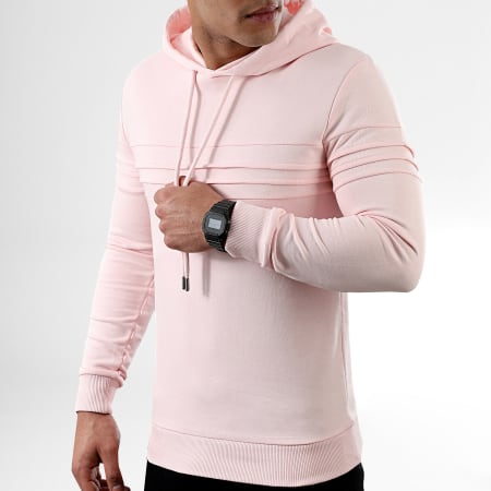 LBO - Sweat Capuche Avec Empiecements 1023 Rose Pale