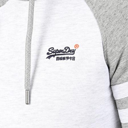 Superdry - Sweat Capuche OL Classic Raglan M2010161A Blanc Chiné Gris Chiné