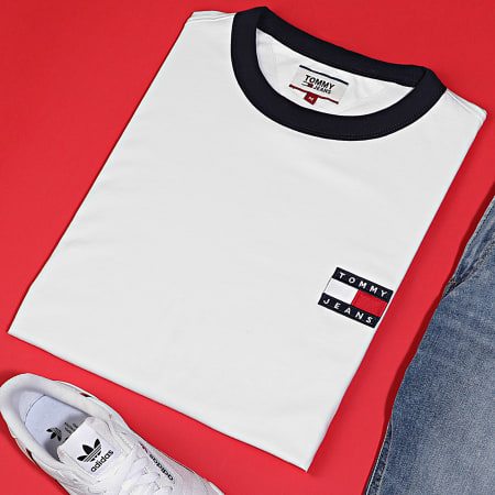 Tommy Jeans - Tee Shirt Branded Ringer 7838 Blanc Cassé