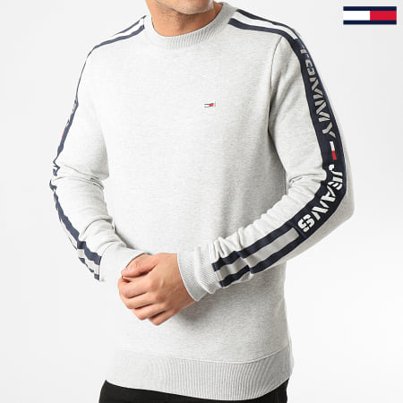 Tommy Hilfiger Jeans - Sweat Crewneck A Bandes Branded Tape 7880 Gris Chiné