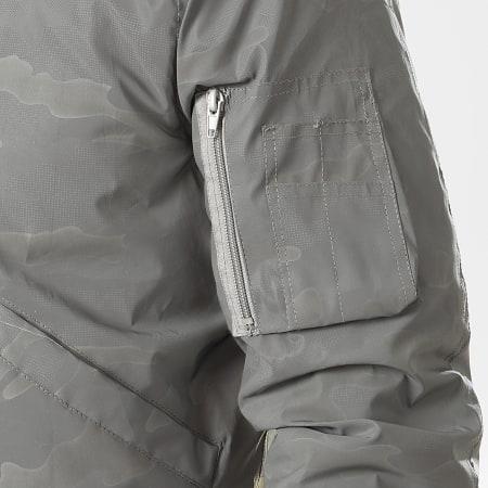 John H - Veste Zippée Capuche Réfléchissante Camouflage F201902 Gris