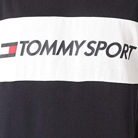 Tommy Sport - Tee Shirt Colourblock Logo Bleu Marine