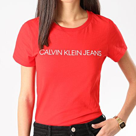 Calvin Klein Jeans - Tee Shirt Slim Femme Institutional Logo 3127 Rouge