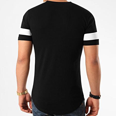LBO - Tee Shirt Oversize A Bandes 1029 Noir Blanc