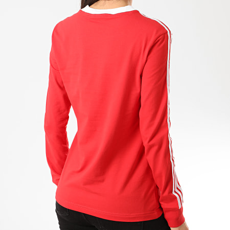 adidas - Tee Shirt Femme Manches Longues A Bandes 3 Stripes FM3294 Rouge