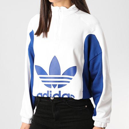 adidas - Sweat Col Zippé Femme A Bandes FL4122 Blanc Bleu Roi