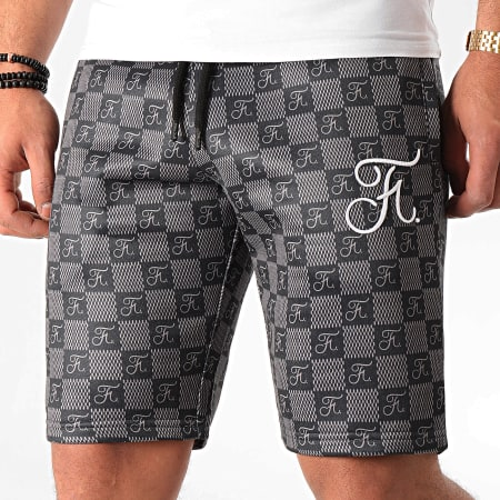 Final Club - Short Jogging Damier Avec Broderie 370 Noir Gris