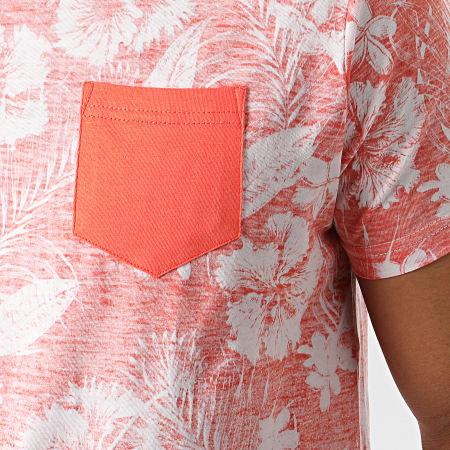 La Maison Blaggio - Tee Shirt Poche Floral Myane Orange Blanc