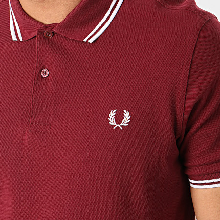 Fred Perry - Polo Manches Courtes Twin Tipped M3600 Bordeaux