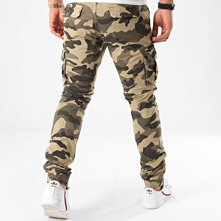 Terance Kole - Pantalon Cargo Camouflage 13051 Vert Kaki Beige