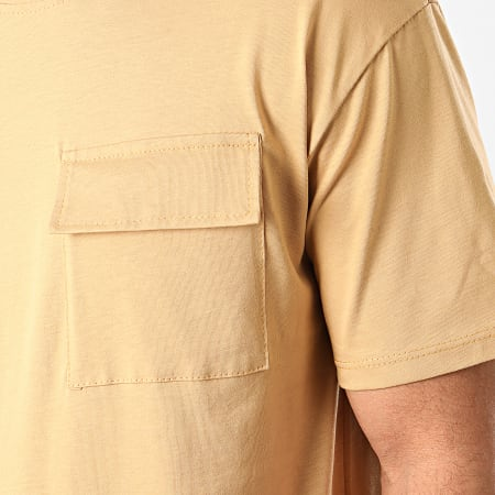 Frilivin - Tee Shirt Poche 13812 Beige Foncé