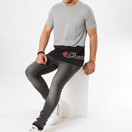 Champion - Tee Shirt 214208 Gris Chiné Noir