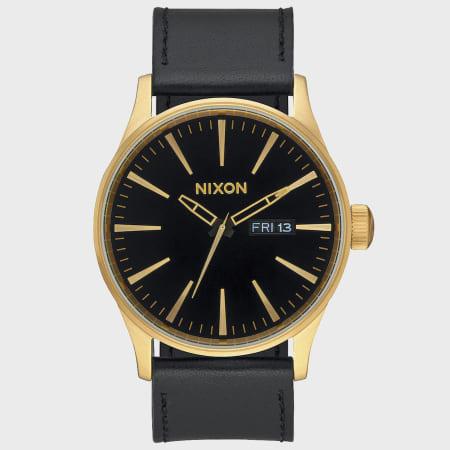 Nixon - Montre Sentry Leather A105-513 Gold Black