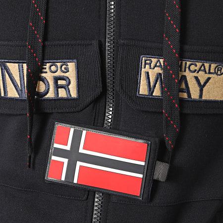 Geographical Norway - Sweat Zippé Capuche Gymclass Bleu Marine