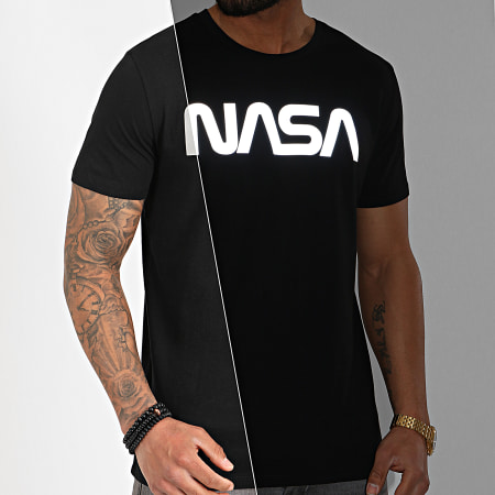 NASA - Tee Shirt Worm Logo Reflective Noir