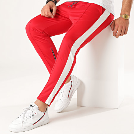 Aarhon - Pantalon Jogging A Bandes 92433 Rouge