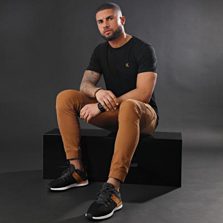 Calvin Klein Jeans - Tee Shirt Essential Broderie Gold 7318 Noir Doré