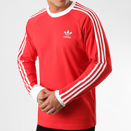 adidas - Tee Shirt Manches Longues A Bandes 3 Stripes FM3776 Rouge