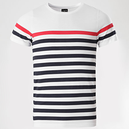 LBO - Tee Shirt A Rayures Bleu Marine Rouge 1066 Blanc