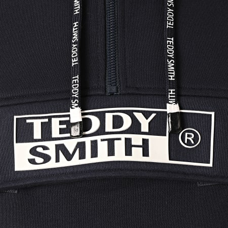 Teddy Smith - Sweat Capuche Col Zippé Lyam Bleu Marine