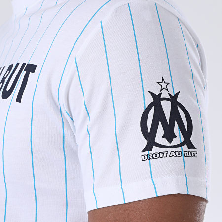 OM Tee Shirt Droit Au But Rayé Blanc