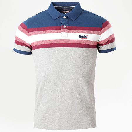 Superdry - Polo Manches Courtes Malibu Stripe Gris Chiné