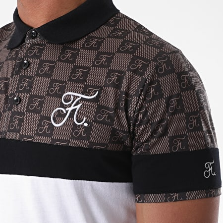 Final Club - Polo Damier Tricolore Avec Broderie 384 Blanc Marron