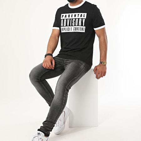 Parental Advisory - Tee Shirt Ringer Logo Noir Blanc