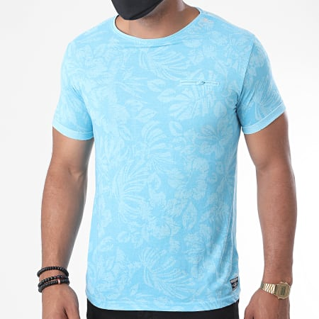 La Maison Blaggio - Tee Shirt Malte Bleu Clair Floral