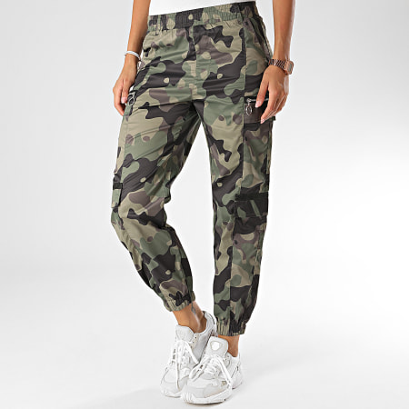Girls Only - Pantalon Jogging Femme 616 Vert Kaki Camouflage