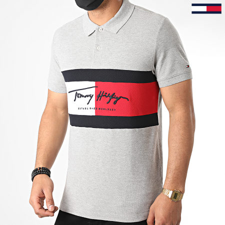 Tommy Hilfiger - Polo Manches Courtes Slim Autograph Flag 4159 Gris Chiné