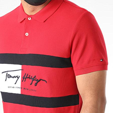 Tommy Hilfiger - Polo Manches Courtes Slim Autograph Flag 4159 Rouge