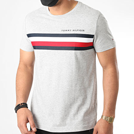 Tommy Hilfiger - Tee Shirt Global Stripe 4337 Gris Chiné