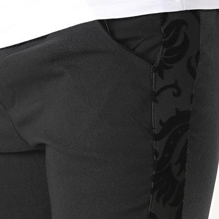 Frilivin - Pantalon Chino A Bandes Renaissance Floral 1718 Noir