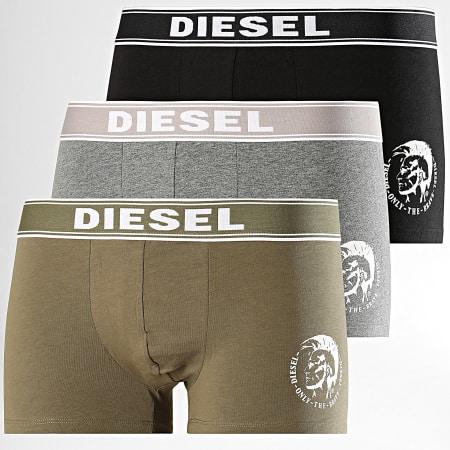 Diesel - Lot de 3 Boxers Shawn 00SAB2-0TANL Vert Kaki Noir Gris Chiné