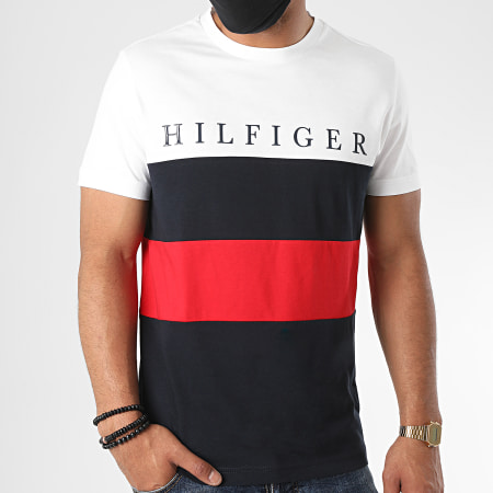 Tommy Hilfiger - Tee Shirt Striped Color Block 4315 Blanc