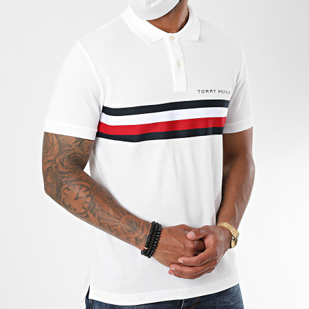 Tommy Hilfiger - Polo Manches Courtes Global STP Chest Tape 4439 Blanc