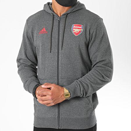 adidas - Sweat Zippé Capuche Arsenal FQ6927 Gris Chiné