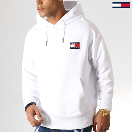Tommy Jeans - Sweat Capuche Tommy Badge 6593 Blanc