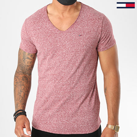 Tommy Jeans - Tee Shirt Basic V Neck 6710 Bordeaux Chiné
